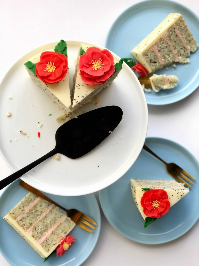 poppy cake sliced