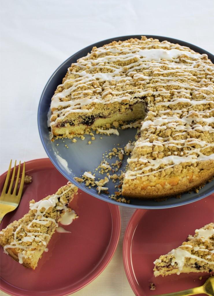 Blackberry crumb cake vanilla glaze slice